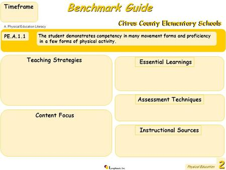 L ongReach, Inc PE.A.1.1 The student demonstrates competency in many movement forms and proficiency in a few forms of physical activity. Benchmark Guide.