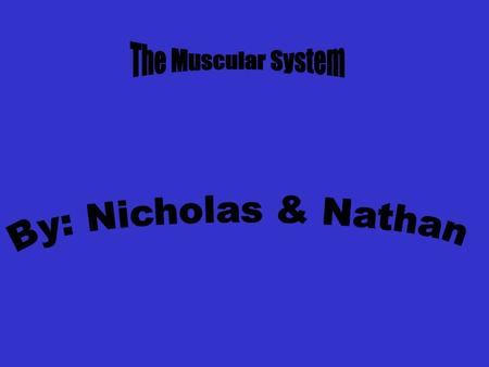 The Muscular System By: Nicholas & Nathan.