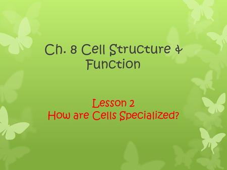 Ch. 8 Cell Structure & Function