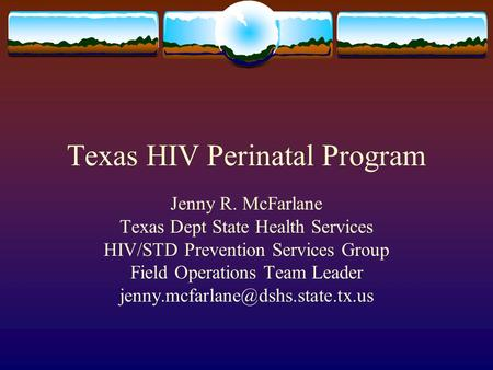 Texas HIV Perinatal Program Jenny R. McFarlane Texas Dept State Health Services HIV/STD Prevention Services Group Field Operations Team Leader