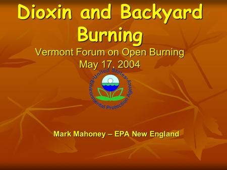 Mark Mahoney – EPA New England Dioxin and Backyard Burning Vermont Forum on Open Burning May 17, 2004.
