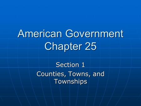 American Government Chapter 25