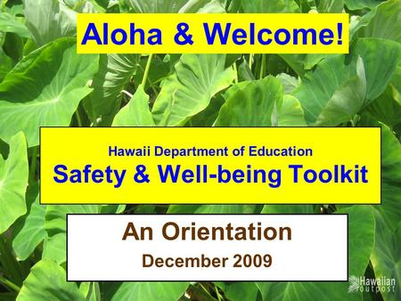 Hawaii Department of Education Safety & Well-being Toolkit An Orientation December 2009 Aloha & Welcome!