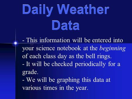 Daily Weather Data - This information will be entered into your science notebook at the beginning of each class day as the bell rings. - It will be checked.