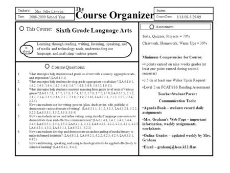 Teacher(s): Time: The Course Organizer Student: Course Dates: This Course: Course Questions: is about 2008-2009 School Year Sixth Grade Language Arts Learning.
