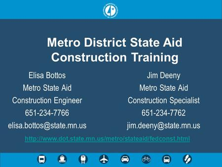 Metro District State Aid Construction Training