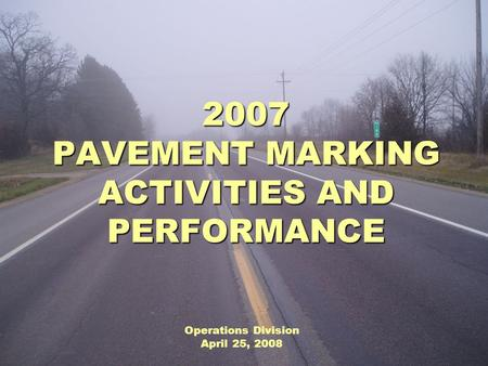 2007 PAVEMENT MARKING ACTIVITIES AND PERFORMANCE