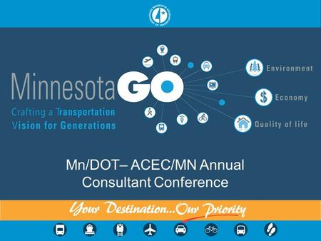 Mn/DOT– ACEC/MN Annual Consultant Conference. Overview Background Background Defining the 50 Year Vision Defining the 50 Year Vision Mn/DOTs Family of.