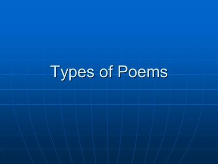 Types of Poems.