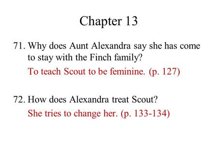 to kill a mockingbird chapter 13 and 14 questions
