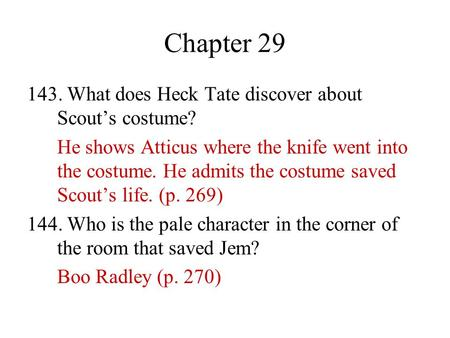 Chapter What does Heck Tate discover about Scout's costume?