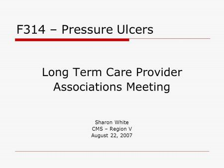 Long Term Care Provider Associations Meeting Sharon White CMS – Region V August 22, 2007 F314 – Pressure Ulcers.
