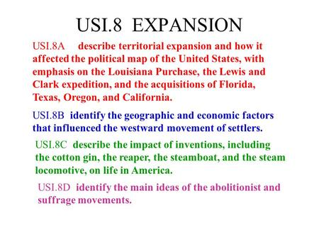 USI.8 EXPANSION USI.8A describe territorial expansion and how it affected the political map of the United States, with emphasis on the Louisiana Purchase,