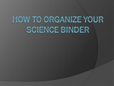 Your binder is important for many reasons. You can use it to find the answers on the final. Being organized makes life easier. Its easy to find missing.