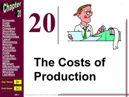 Copyright 2008 The McGraw-Hill Companies 20-1 Economic Costs Profits Compared Short-Run Production Relationships Law of Diminishing Returns Short-Run Production.