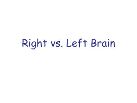 Right vs. Left Brain. This theory of the structure and functions of the mind suggests that the two different sides of the brain control two different.