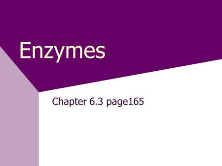 Enzymes Chapter 6.3 page165.