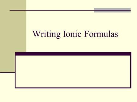 Writing Ionic Formulas. How to write a formula from the name. Write the element symbols given by the name. The cation always goes first. Figure out the.