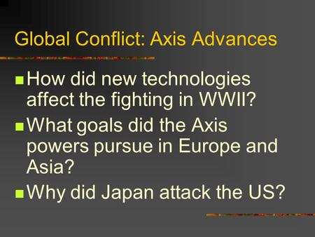 Global Conflict: Axis Advances