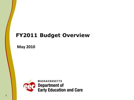 1 FY2011 Budget Overview May 2010. FY11 Budget Process Update: House FY11 Recommendation 2 Only fiscal amendment from the HWM budget adopted on House.