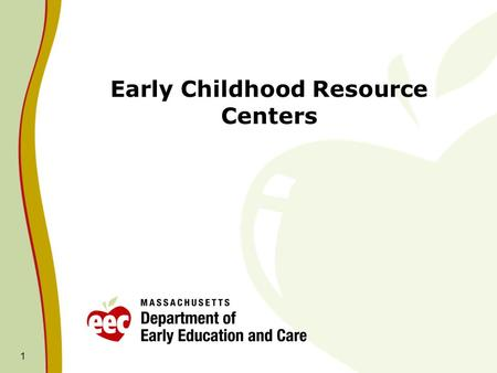 Early Childhood Resource Centers 1. 2 Created in 1991 – lead agencies were originally public schools, community agencies and libraries. FY09 Competitive.