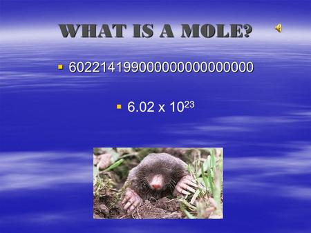 WHAT IS A MOLE? 602214199000000000000000 6.02 x 1023.
