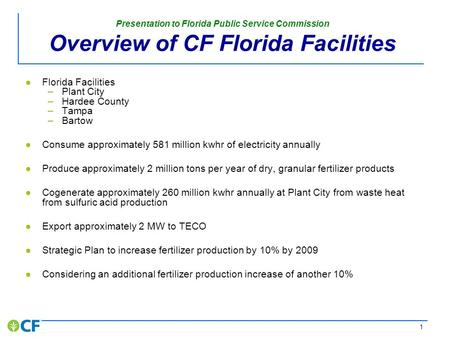Presentation to the Florida Public Service Commission November 29, 2007.