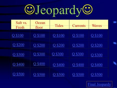 Jeopardy Salt vs. Fresh Ocean floor Tides Currents Waves Q $100