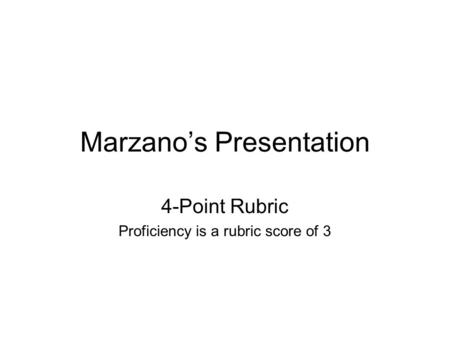 Marzanos Presentation 4-Point Rubric Proficiency is a rubric score of 3.