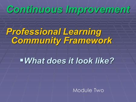 Continuous Improvement Professional Learning Community Framework What does it look like? What does it look like? Module Two.