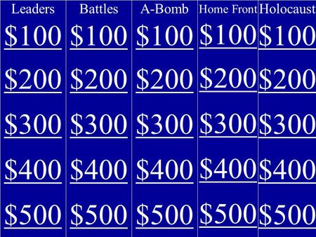 Leaders $100 $200 $300 $400 $500 Battles $100 $200 $300 $400 $500 A-Bomb $100 $200 $300 $400 $500 Home Front $100 $200 $300 $400 $500 Holocaust $100 $200.