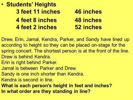 Students' Heights 3 feet 11 inches 46 inches