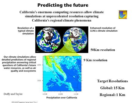 DRC 2006.Presenters Name.March 7-9.p 1 Californias enormous computing resources allow climate simulations at unprecedented resolution capturing Californias.