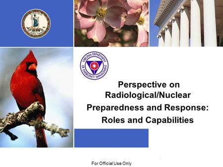 01/29/09For Official Use Only Perspective on Radiological/Nuclear Preparedness and Response: Roles and Capabilities.