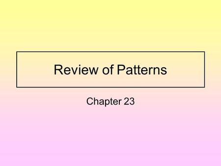 Review of Patterns Chapter 23 Warm Up: Solve the following. 1.) Mr. Lee buys 8 packs of pens. Each pack hold 4 pens. How many pens does he buy? 2.) Kens.