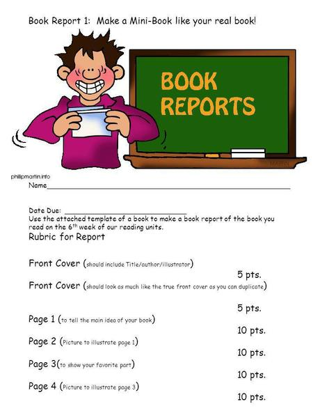 Book Report 1: Make a Mini-Book like your real book!