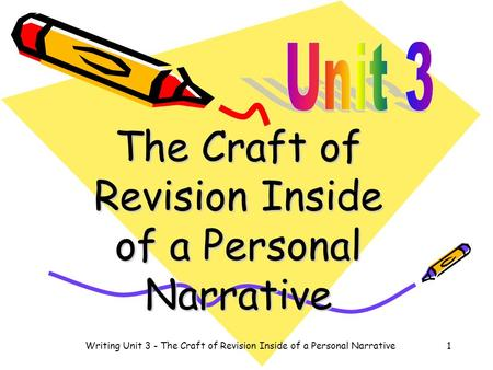 The Craft of Revision Inside of a Personal Narrative