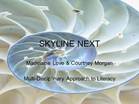 SKYLINE NEXT Madelaine Love & Courtney Morgan Multi-Disciplinary Approach to Literacy.