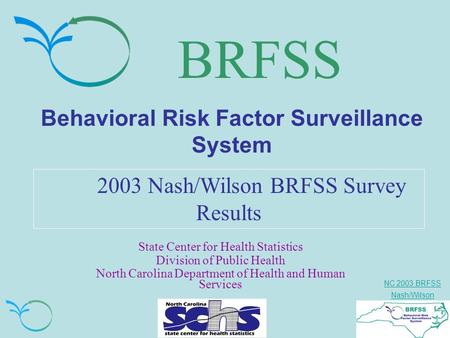 NC 2003 BRFSS Nash/Wilson BRFSS Behavioral Risk Factor Surveillance System 2003 Nash/Wilson BRFSS Survey Results State Center for Health Statistics Division.
