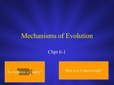 Mechanisms of Evolution Chpt 6-1 Is evolution a Theory? Why is it Controversial?