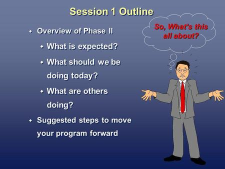 Session 1 Outline Overview of Phase II What is expected? What should we be doing today? What are others doing? Suggested steps to move your program forward.