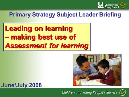 Primary Strategy Subject Leader Briefing June/July 2008 Leading on learning – making best use of Assessment for learning.