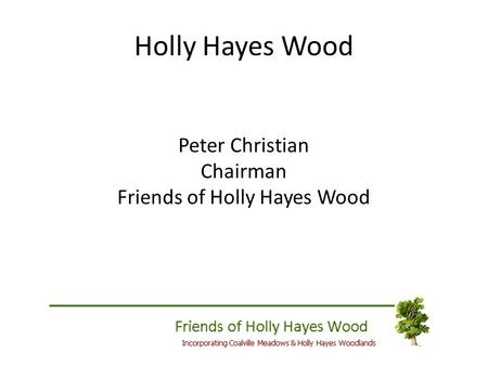 Holly Hayes Wood Peter Christian Chairman Friends of Holly Hayes Wood.