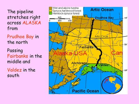 The pipeline stretches right across ALASKA from Prudhoe Bay in the north Passing Fairbanks in the middle and Valdez in the south.