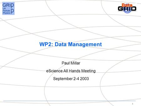1 WP2: Data Management Paul Millar eScience All Hands Meeting September 2-4 2003.