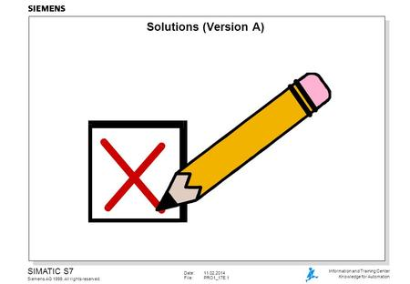 Date:11.02.2014 File: PRO1_17E.1 SIMATIC S7 Siemens AG 1999. All rights reserved. Information and Training Center Knowledge for Automation Solutions (Version.