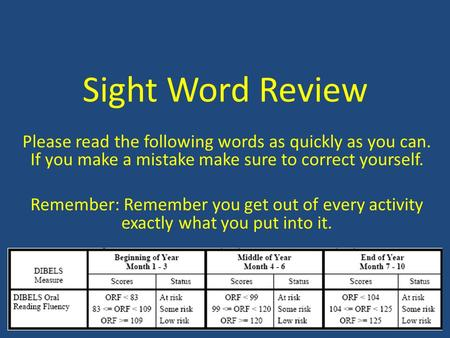 Sight Word Review Please read the following words as quickly as you can. If you make a mistake make sure to correct yourself. Remember: Remember you get.