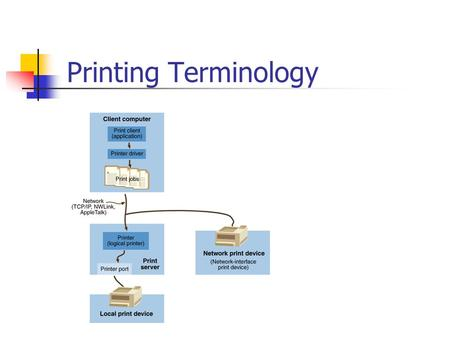 Printing Terminology. Requirements for Network Printing At least one computer to operate as the print server Sufficient RAM to process documents Sufficient.