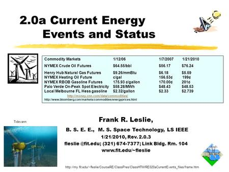 Frank R. Leslie, B. S. E. E., M. S. Space Technology, LS IEEE 1/21/2010, Rev. 2.0.3 (321) 674-7377; Link Bldg. Rm. 104