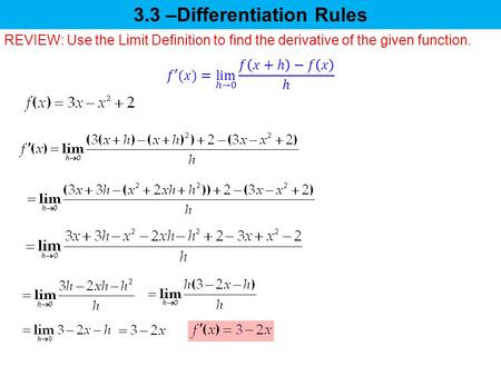 3.3 –Differentiation Rules REVIEW: Use the Limit Definition to find the derivative of the given function.